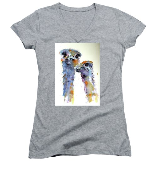 Women's V-Neck T-Shirt (Junior Cut) featuring the painting Ostriches by Kovacs Anna Brigitta