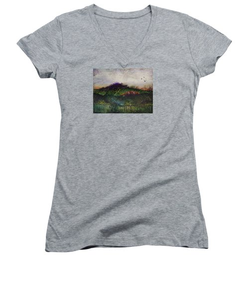 Women's V-Neck T-Shirt (Junior Cut) featuring the painting Other World 1 by Ron Richard Baviello
