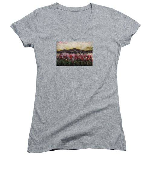 Women's V-Neck T-Shirt (Junior Cut) featuring the painting Other World 3 by Ron Richard Baviello