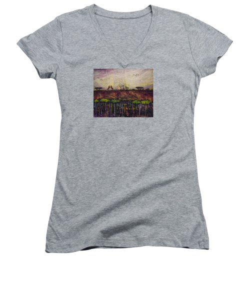 Women's V-Neck T-Shirt (Junior Cut) featuring the painting Other World 4 by Ron Richard Baviello
