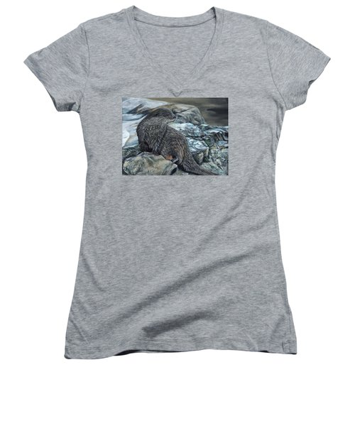 Otter On Rocks Women's V-Neck (Athletic Fit)