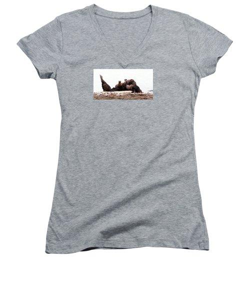 Otters In Boulevard Park Women's V-Neck T-Shirt (Junior Cut) by Karen Molenaar Terrell