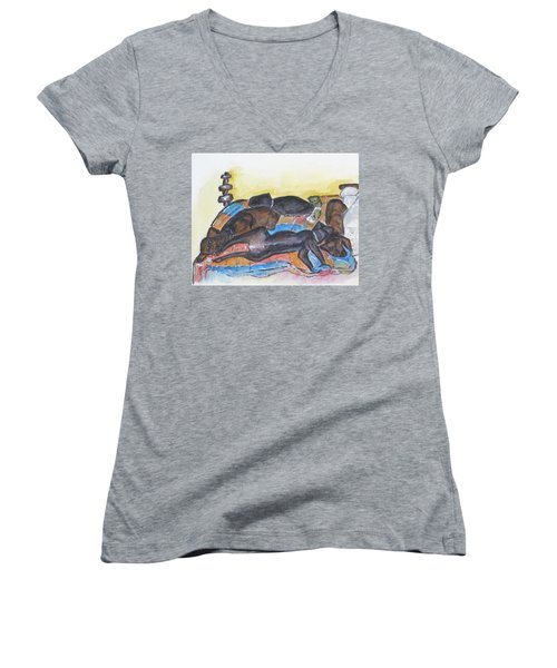 Our Bed Now Women's V-Neck T-Shirt (Junior Cut) by Clyde J Kell