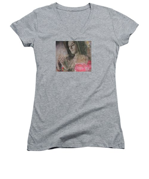 Women's V-Neck T-Shirt (Junior Cut) featuring the painting Our Lady 2 by Suzanne Silvir