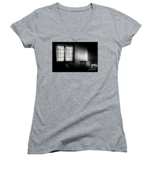 Women's V-Neck T-Shirt (Junior Cut) featuring the photograph Our Lady Chapel Detail In  The Ons' Lieve Heer Op Solder Amsterdan Bw by RicardMN Photography