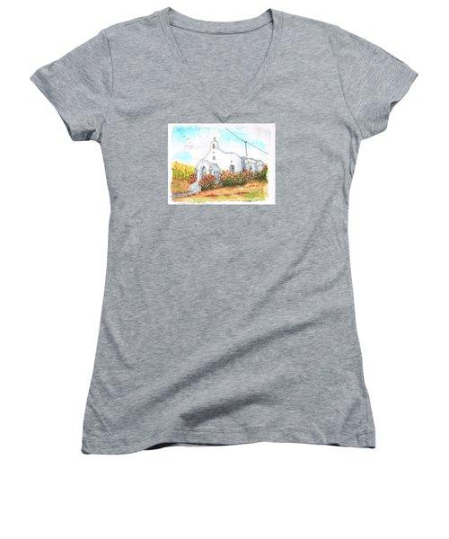 Our Lady Of Mount Carmel Catholic Church, Carmel,california Women's V-Neck T-Shirt (Junior Cut) by Carlos G Groppa