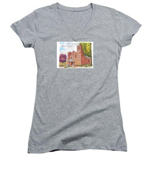 Our Lady Of Sorrow Catholic Church, Las Vegas, New Mexico Women's V-Neck T-Shirt (Junior Cut) by Carlos G Groppa