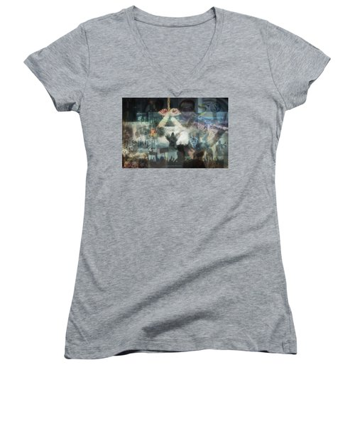 Our Monetary System  Women's V-Neck T-Shirt (Junior Cut) by Eskemida Pictures