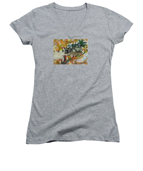 Our Tree House Women's V-Neck T-Shirt (Junior Cut) by Jim Hubbard