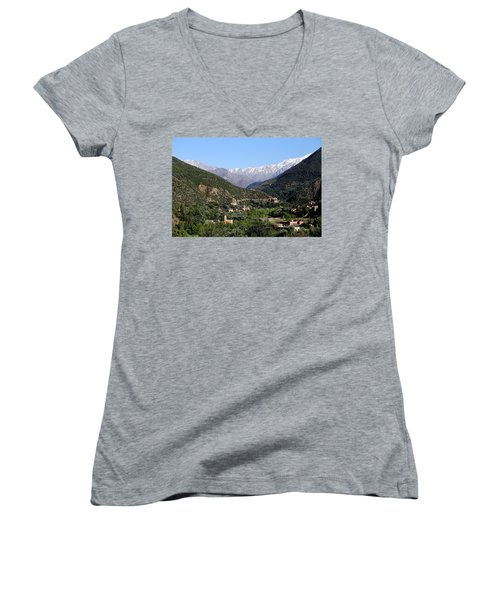Women's V-Neck T-Shirt (Junior Cut) featuring the photograph Ourika Valley 2 by Andrew Fare