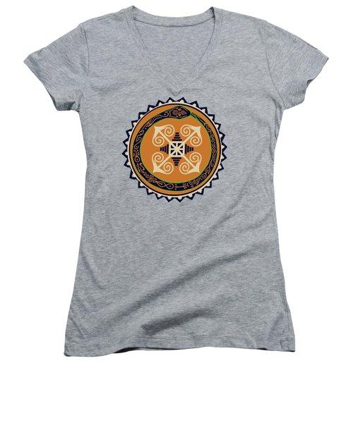 Ouroboros With Devine Fire Wheel Women's V-Neck T-Shirt (Junior Cut) by Vagabond Folk Art - Virginia Vivier