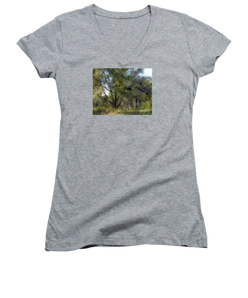 Out In The Back 40 Women's V-Neck T-Shirt (Junior Cut) by JRP Photography