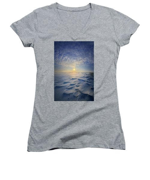 Women's V-Neck T-Shirt (Junior Cut) featuring the photograph Out Of The East by Phil Koch
