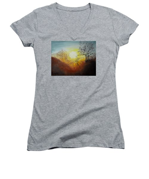 Out Of The Winter Morning Mists - 1 Women's V-Neck T-Shirt