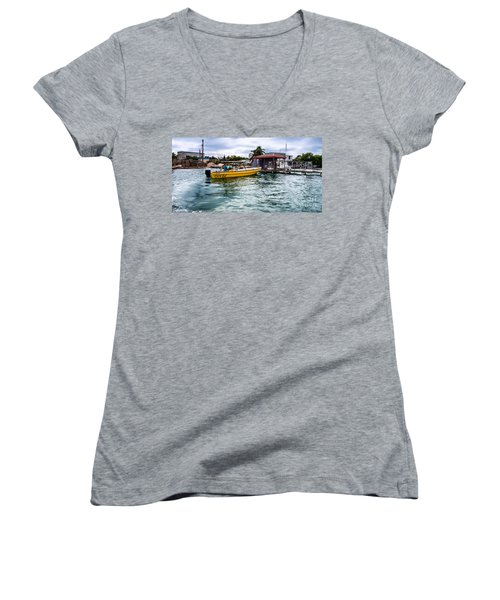 Women's V-Neck T-Shirt (Junior Cut) featuring the photograph Out On Bail by Lawrence Burry