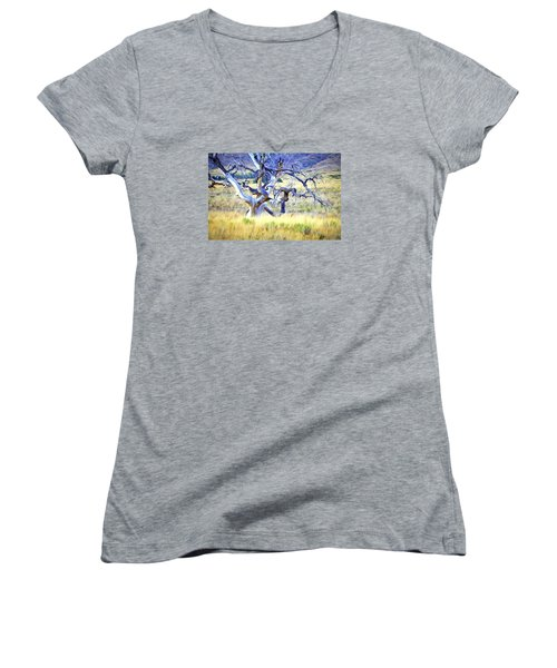 Women's V-Neck T-Shirt (Junior Cut) featuring the digital art Out Standing In My Field by James Steele