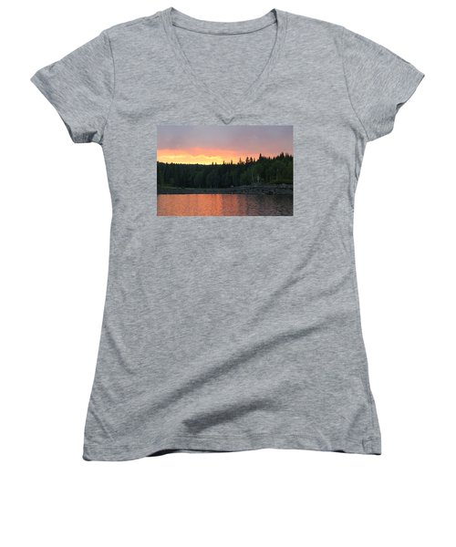 Outdoors In Norway.  Women's V-Neck (Athletic Fit)