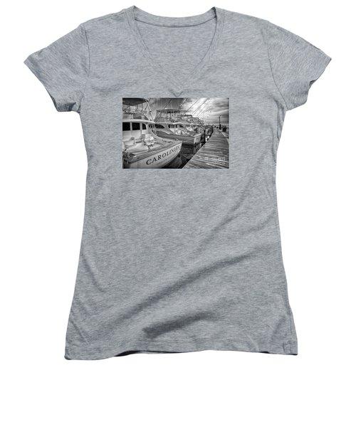 Outer Banks Fishing Boats Waiting Bw Women's V-Neck T-Shirt (Junior Cut) by Dan Carmichael