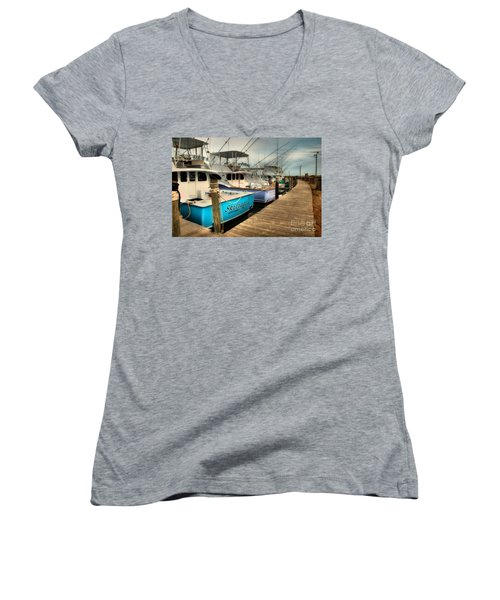 Outer Banks Fishing Boats Waiting Women's V-Neck T-Shirt (Junior Cut)