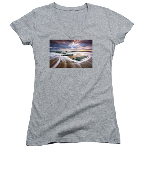 Outer Banks North Carolina Beach Sunrise Seascape Photography Obx Nags Head Nc Women's V-Neck (Athletic Fit)