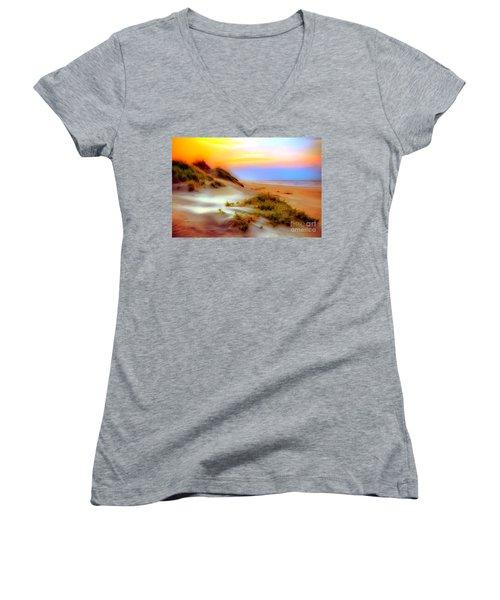 Outer Banks Soft Dune Sunrise Ap Women's V-Neck T-Shirt (Junior Cut) by Dan Carmichael