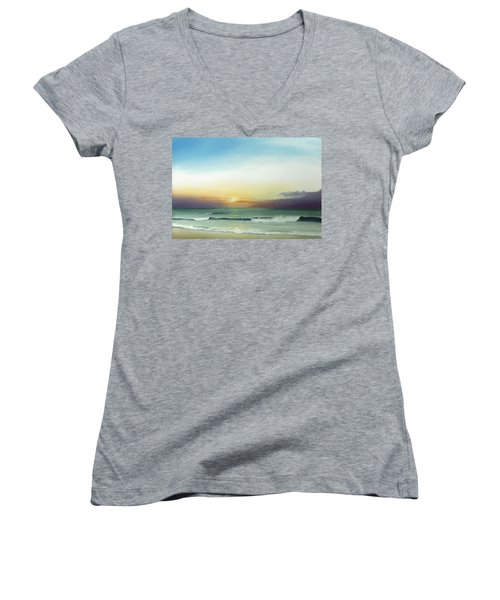Women's V-Neck T-Shirt (Junior Cut) featuring the painting East Coast Sunrise by Albert Puskaric