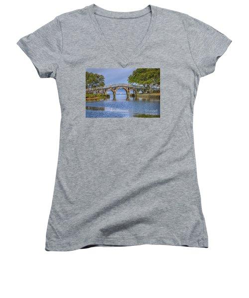 Outer Banks Whalehead Club Bridge  Women's V-Neck T-Shirt (Junior Cut) by Randy Steele