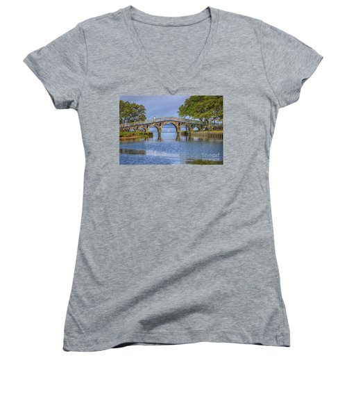 Outer Banks Whalehead Club Bridge  Women's V-Neck (Athletic Fit)
