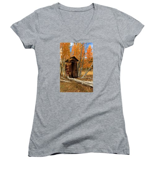 Outhouse In The Aspens Women's V-Neck T-Shirt (Junior Cut) by James Eddy