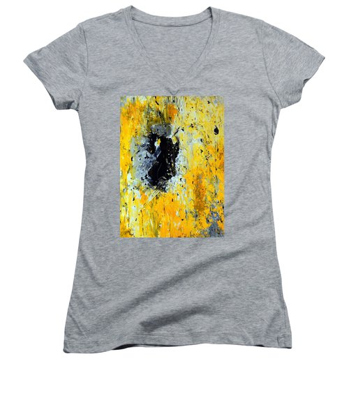 Women's V-Neck T-Shirt (Junior Cut) featuring the painting Outside Looking In by Everette McMahan jr