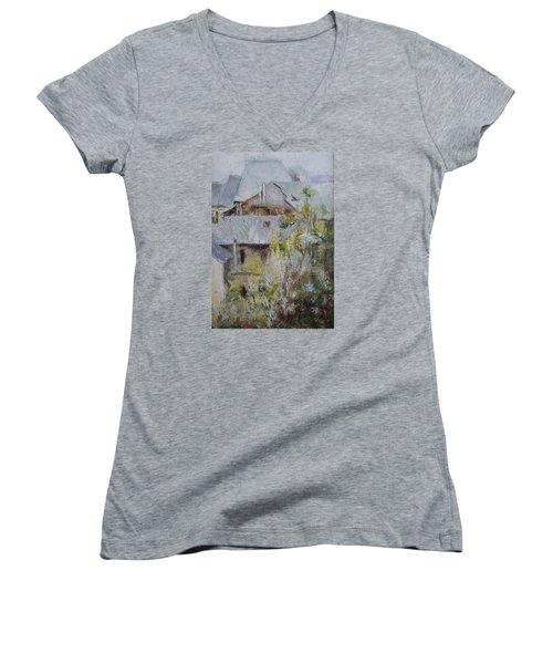 Over City Women's V-Neck T-Shirt (Junior Cut) by Vali Irina Ciobanu