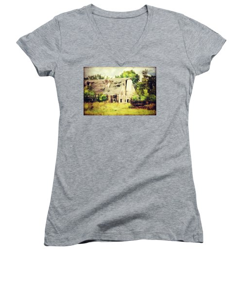 Women's V-Neck T-Shirt (Junior Cut) featuring the photograph Over Grown by Julie Hamilton