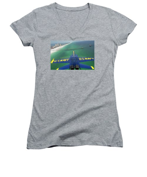 Women's V-Neck T-Shirt (Junior Cut) featuring the photograph Over Pensacola Beach by Specialist 3rd Class Andrew Johnson