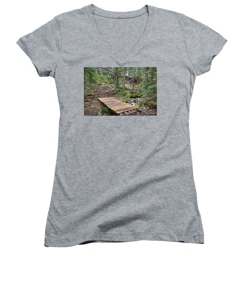 Women's V-Neck T-Shirt featuring the photograph Over The Bridge And Through The Woods by James BO Insogna