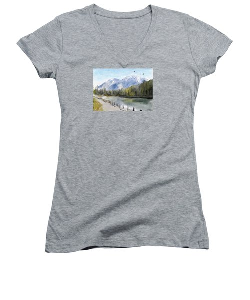 Women's V-Neck T-Shirt (Junior Cut) featuring the painting Over The Mountains by Wayne Pascall