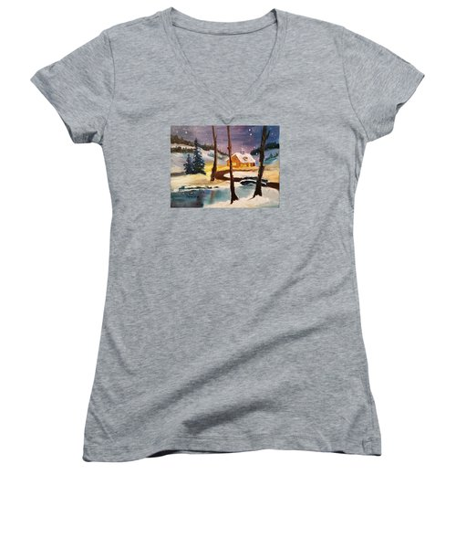 Over The River Women's V-Neck T-Shirt (Junior Cut) by Larry Hamilton