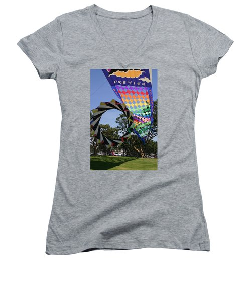 Women's V-Neck T-Shirt (Junior Cut) featuring the photograph Over Under Sideways Down by Marie Neder