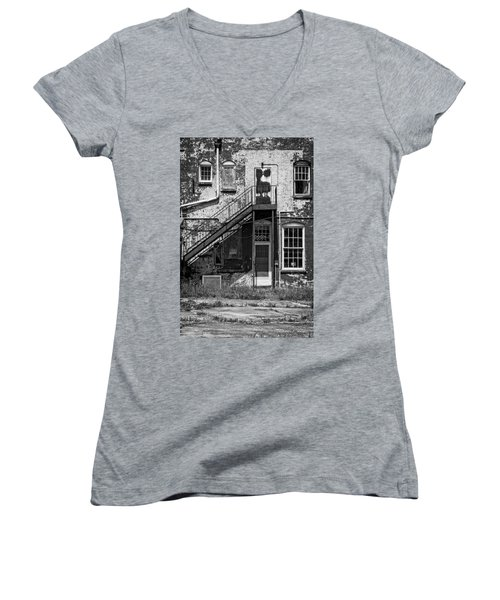 Women's V-Neck T-Shirt (Junior Cut) featuring the photograph Over Under The Stairs - Bw by Christopher Holmes