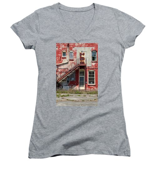 Women's V-Neck T-Shirt (Junior Cut) featuring the photograph Over Under The Stairs by Christopher Holmes