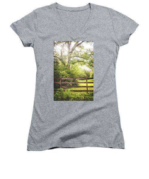 Women's V-Neck T-Shirt (Junior Cut) featuring the photograph Overgrown by Shelby Young