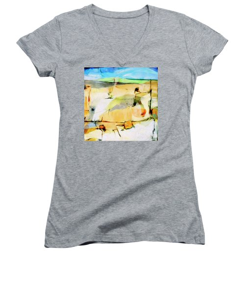 Women's V-Neck T-Shirt (Junior Cut) featuring the painting Overlook by Dominic Piperata