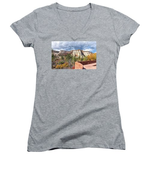 Women's V-Neck T-Shirt (Junior Cut) featuring the photograph Overlook In Zion National Park Upper Plateau by John M Bailey