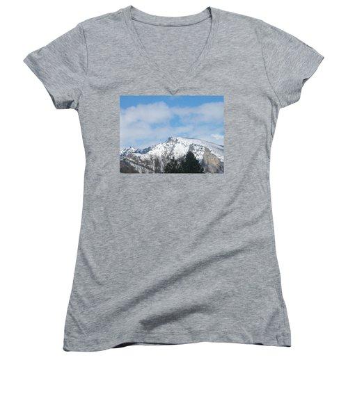 Women's V-Neck T-Shirt (Junior Cut) featuring the photograph Overlooking Blodgett by Jewel Hengen
