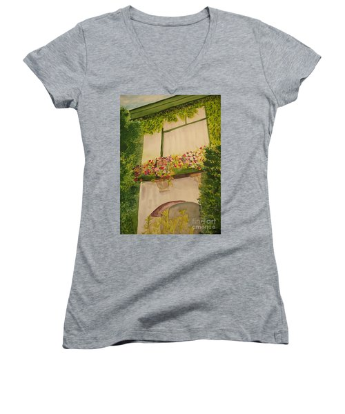 Women's V-Neck T-Shirt (Junior Cut) featuring the painting Overlooking Butchard Gardens  by Vicki  Housel