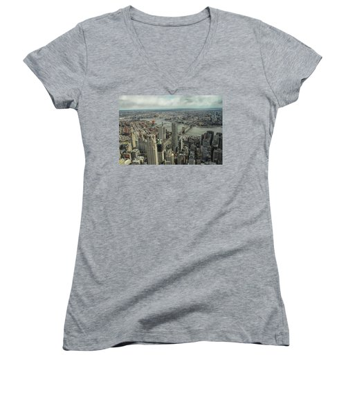 Overlooking Manhattan's East River  Women's V-Neck (Athletic Fit)