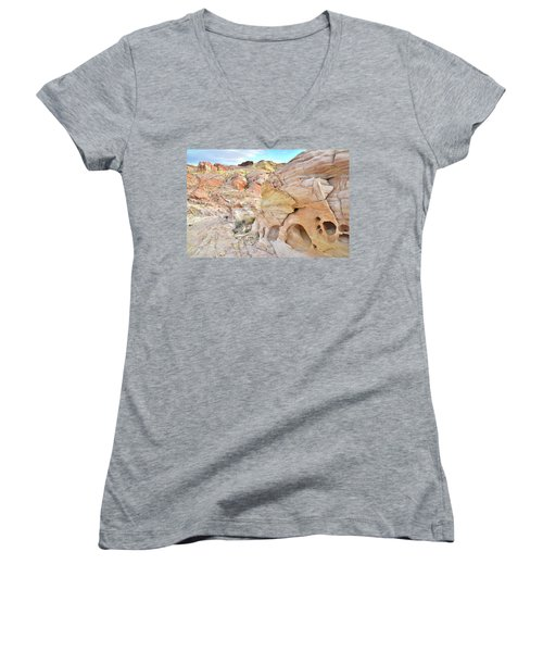 Overlooking Wash 5 In Valley Of Fire Women's V-Neck T-Shirt (Junior Cut) by Ray Mathis