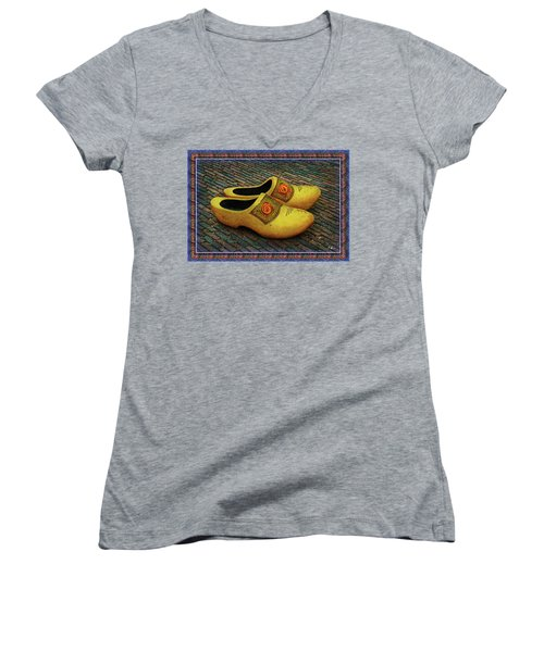 Women's V-Neck T-Shirt featuring the photograph Oversized Dutch Clogs by Hanny Heim