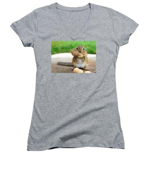 Overstuffed Women's V-Neck T-Shirt (Junior Cut) by Lori Deiter