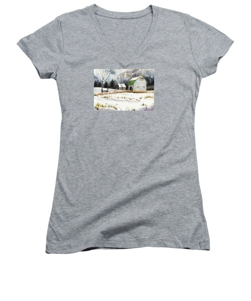 Women's V-Neck T-Shirt (Junior Cut) featuring the painting Owen County Winter by Katherine Miller