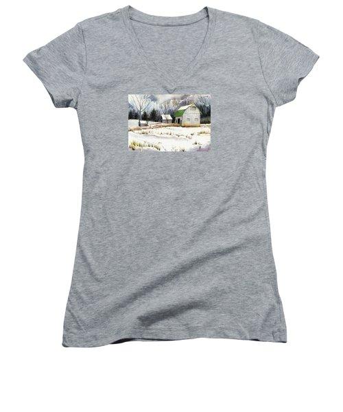 Owen County Winter Women's V-Neck T-Shirt (Junior Cut) by Katherine Miller